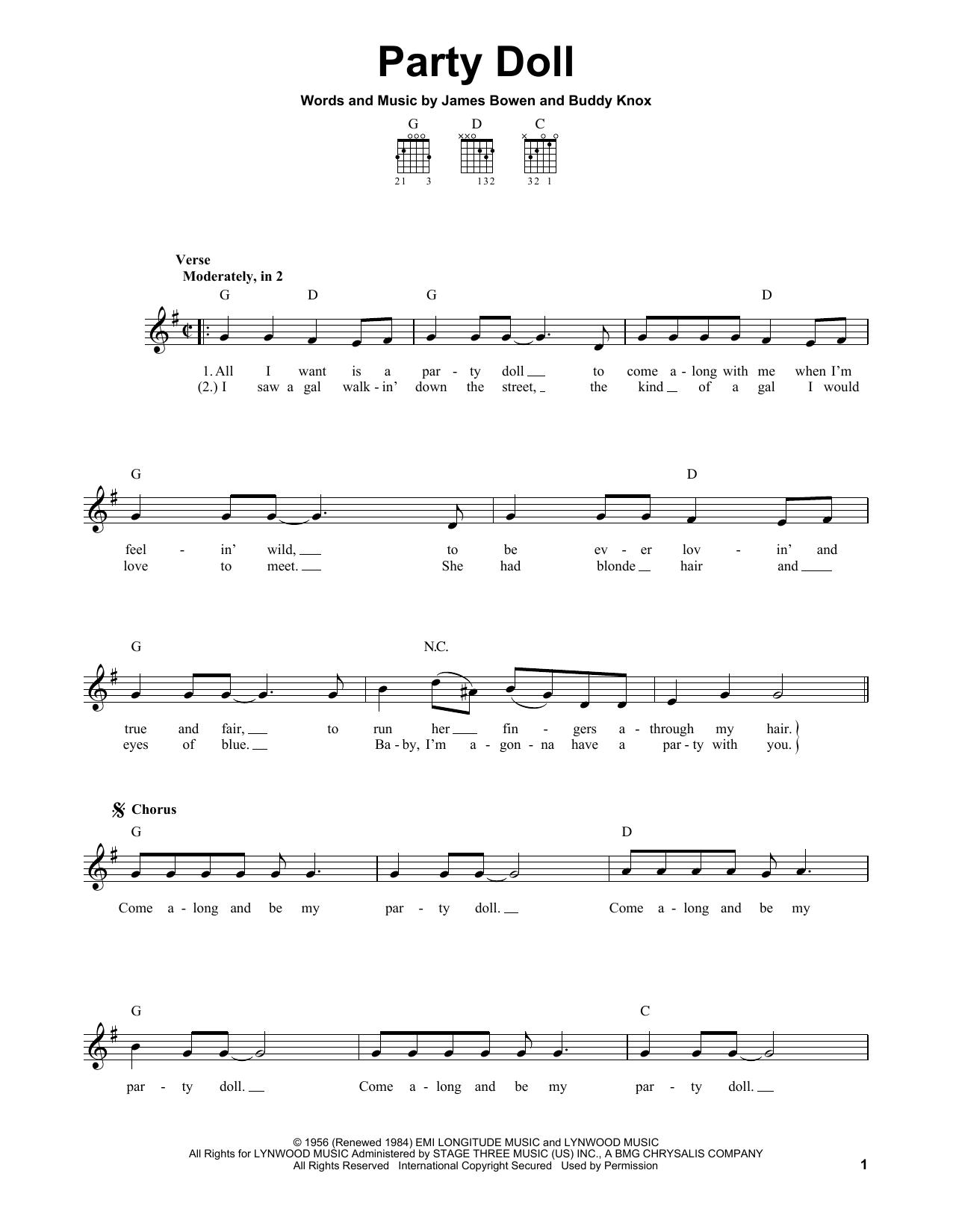 Tablature guitare Party Doll de Buddy Knox - Tablature guitare facile
