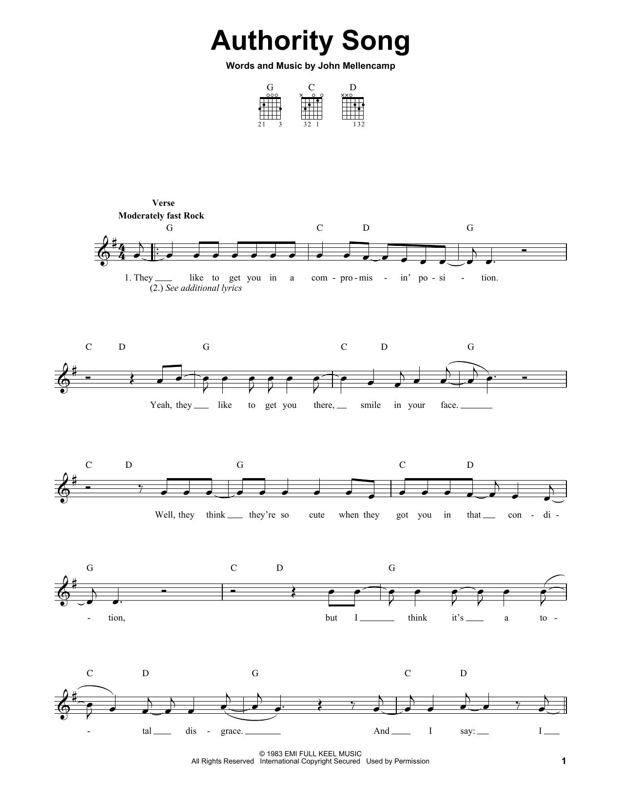 Tablature guitare Authority Song de John Mellencamp - Tablature guitare facile