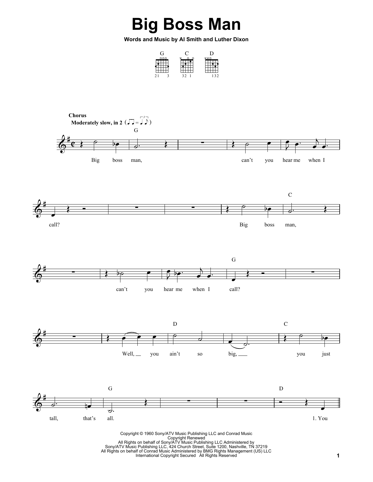 Tablature guitare Big Boss Man de Elvis Presley - Tablature guitare facile