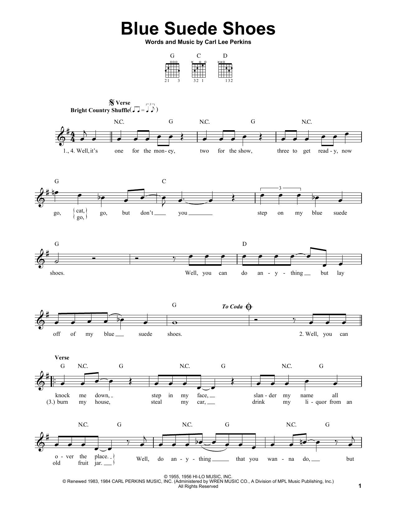 Tablature guitare Blue Suede Shoes de Elvis Presley - Tablature guitare facile