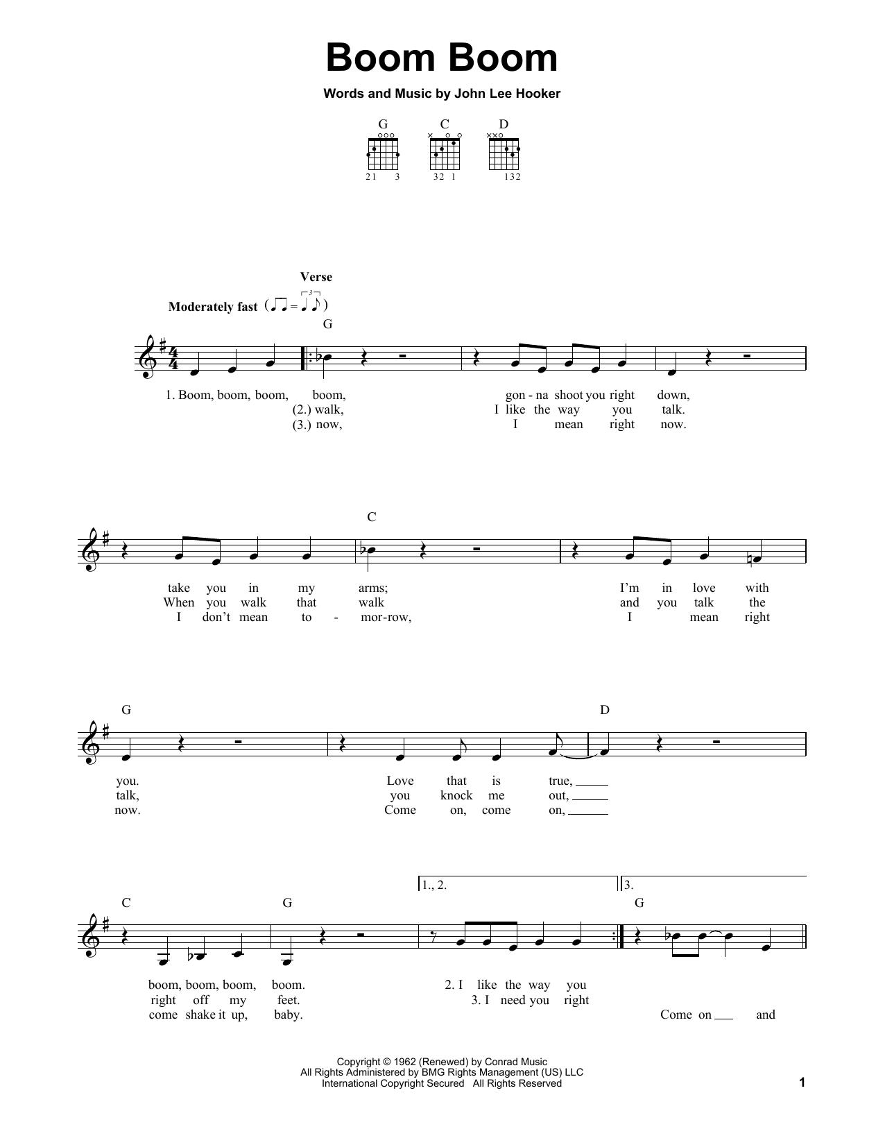 Tablature guitare Boom Boom de John Lee Hooker - Tablature guitare facile