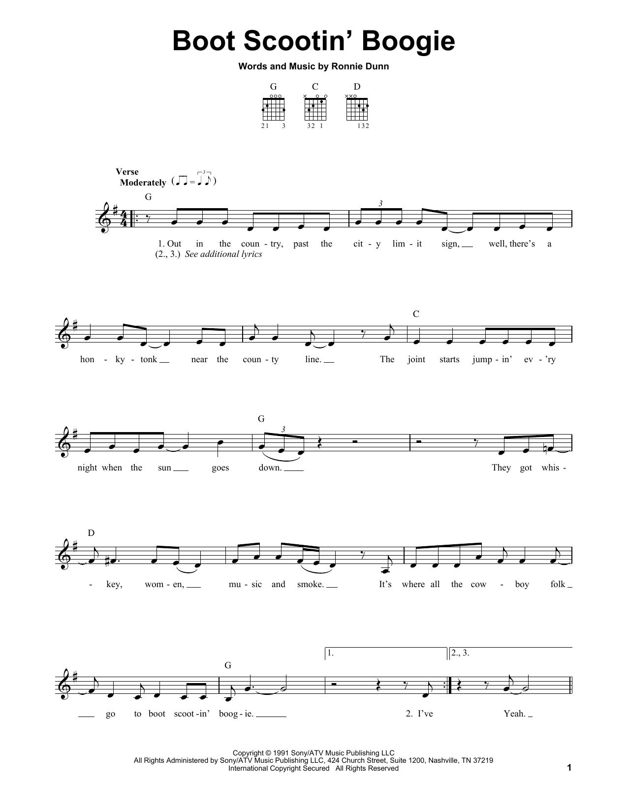 Tablature guitare Boot Scootin' Boogie de Brooks & Dunn - Tablature guitare facile