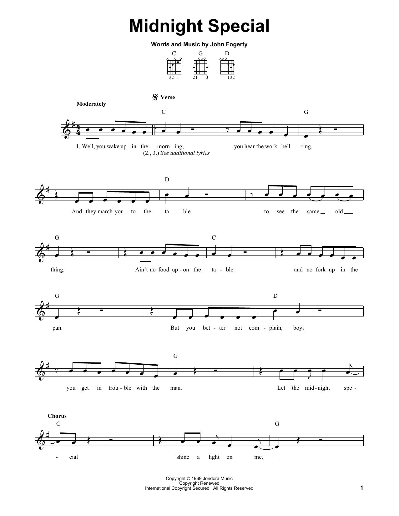Tablature guitare Midnight Special de Creedence Clearwater Revival - Tablature guitare facile