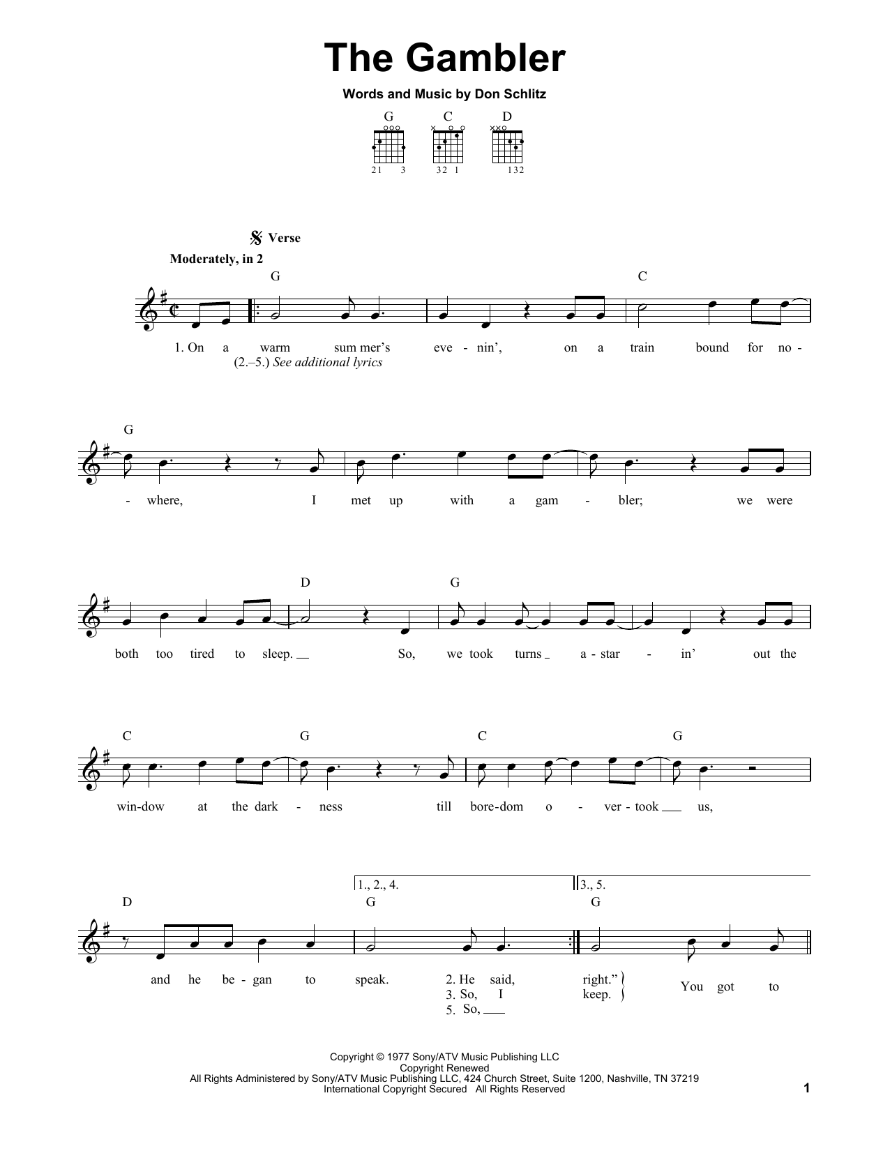 Tablature guitare The Gambler de Kenny Rogers - Tablature guitare facile