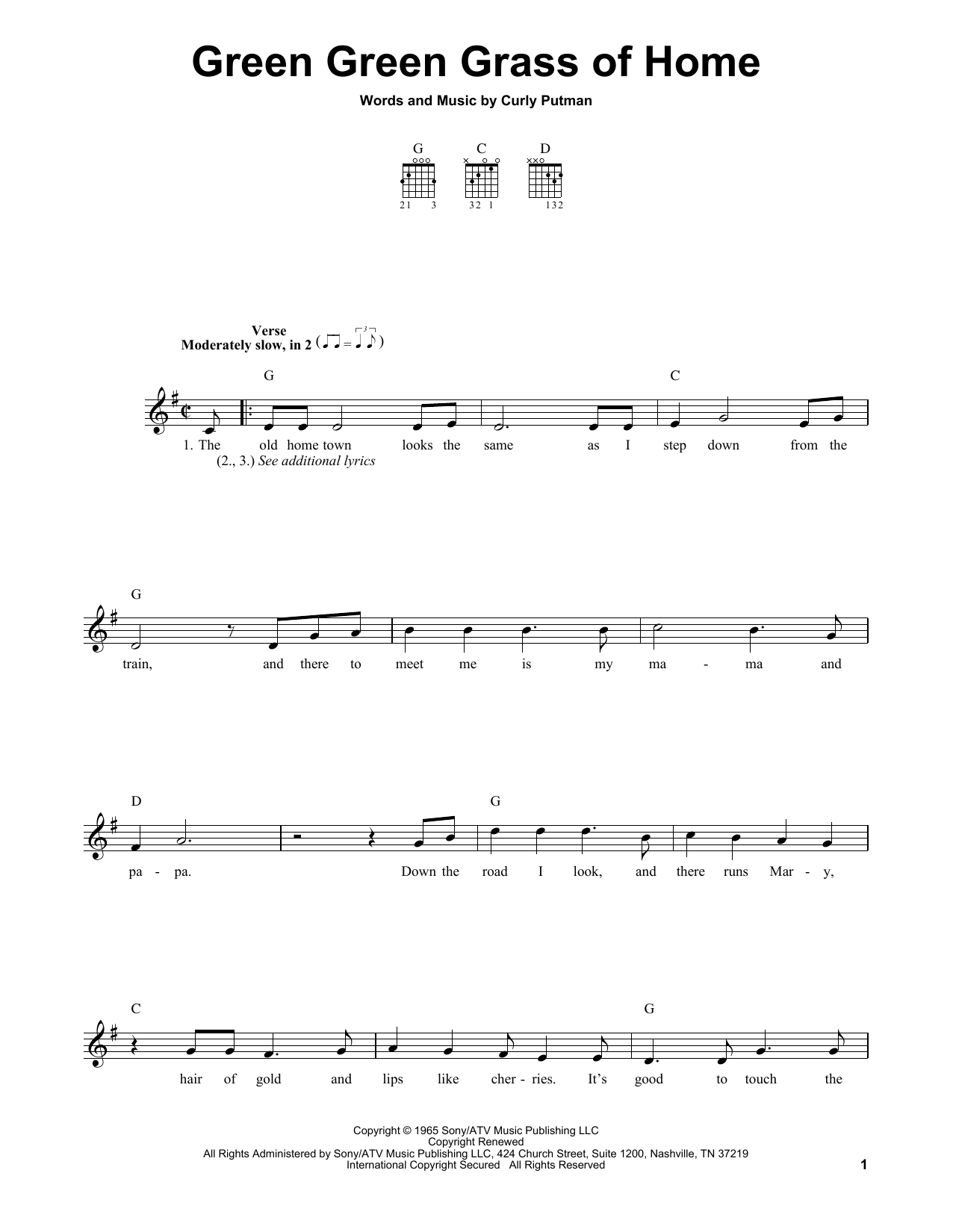 Tablature guitare Green Green Grass Of Home de Porter Wagoner - Tablature guitare facile