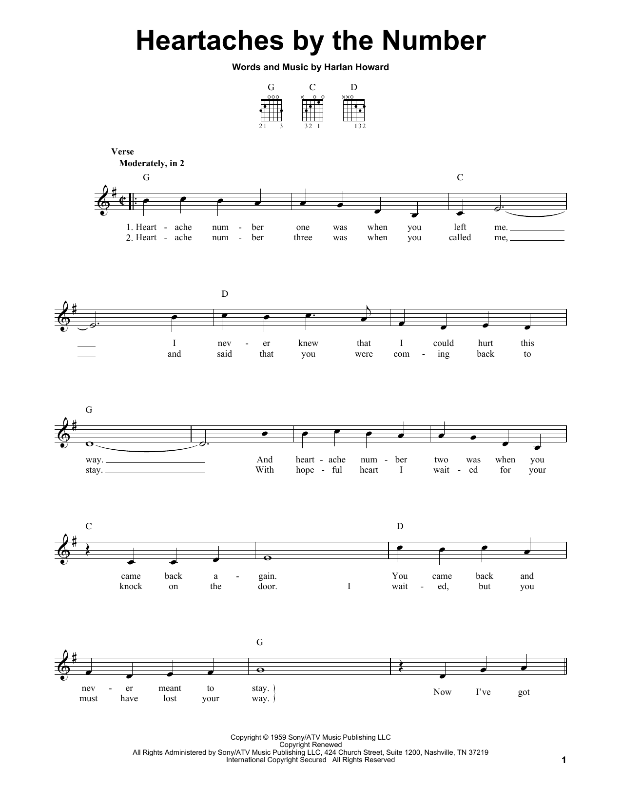 Tablature guitare Heartaches By The Number de Ray Price - Tablature guitare facile