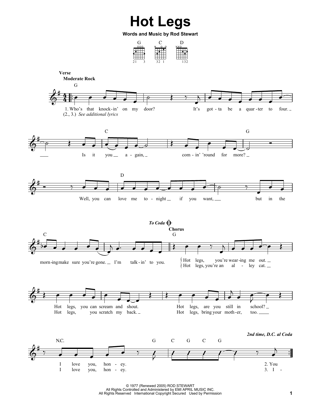 Tablature guitare Hot Legs de Rod Stewart - Tablature guitare facile