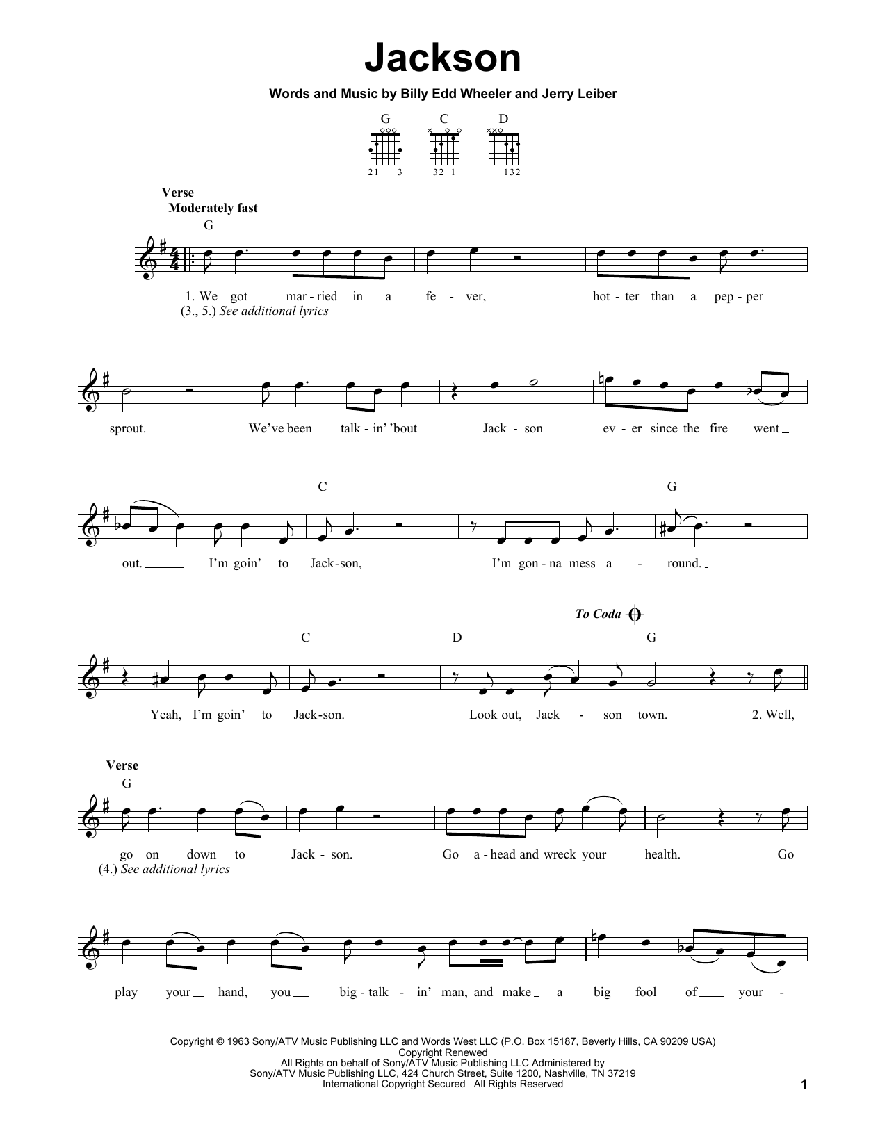 Tablature guitare Jackson de Johnny Cash & June Carter - Tablature guitare facile