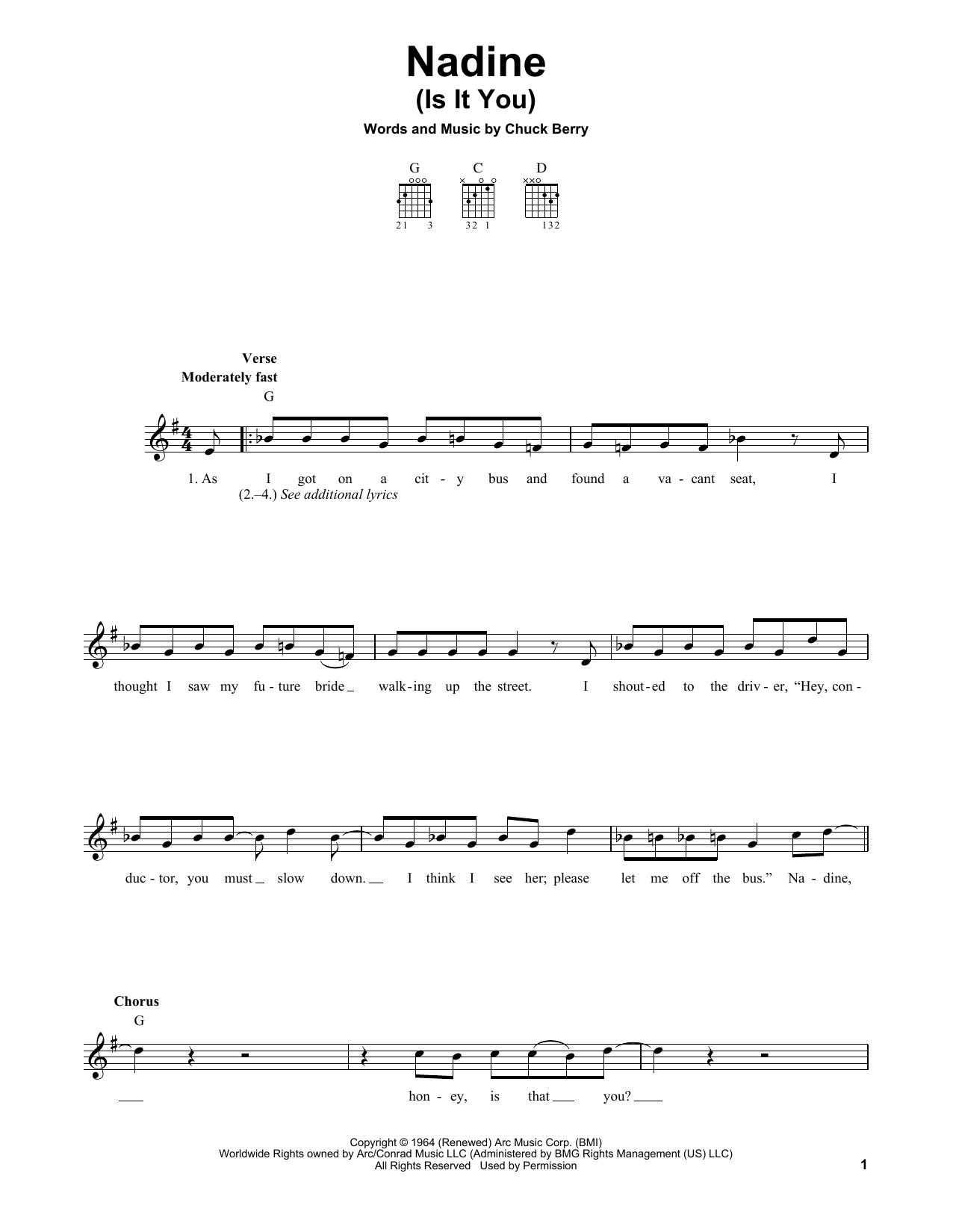Tablature guitare Nadine (Is It You) de Chuck Berry - Tablature guitare facile