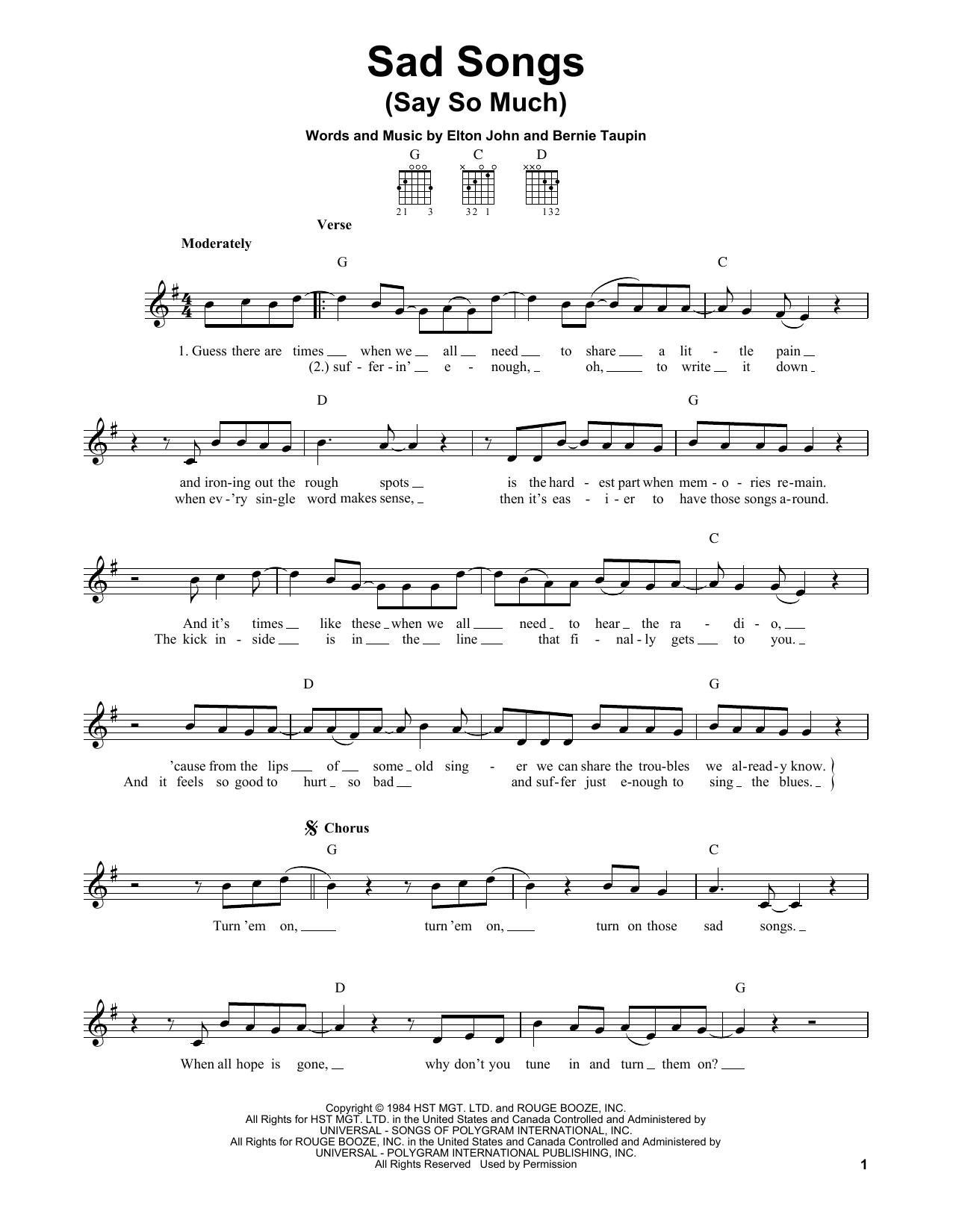 Tablature guitare Sad Songs (Say So Much) de Elton John - Tablature guitare facile