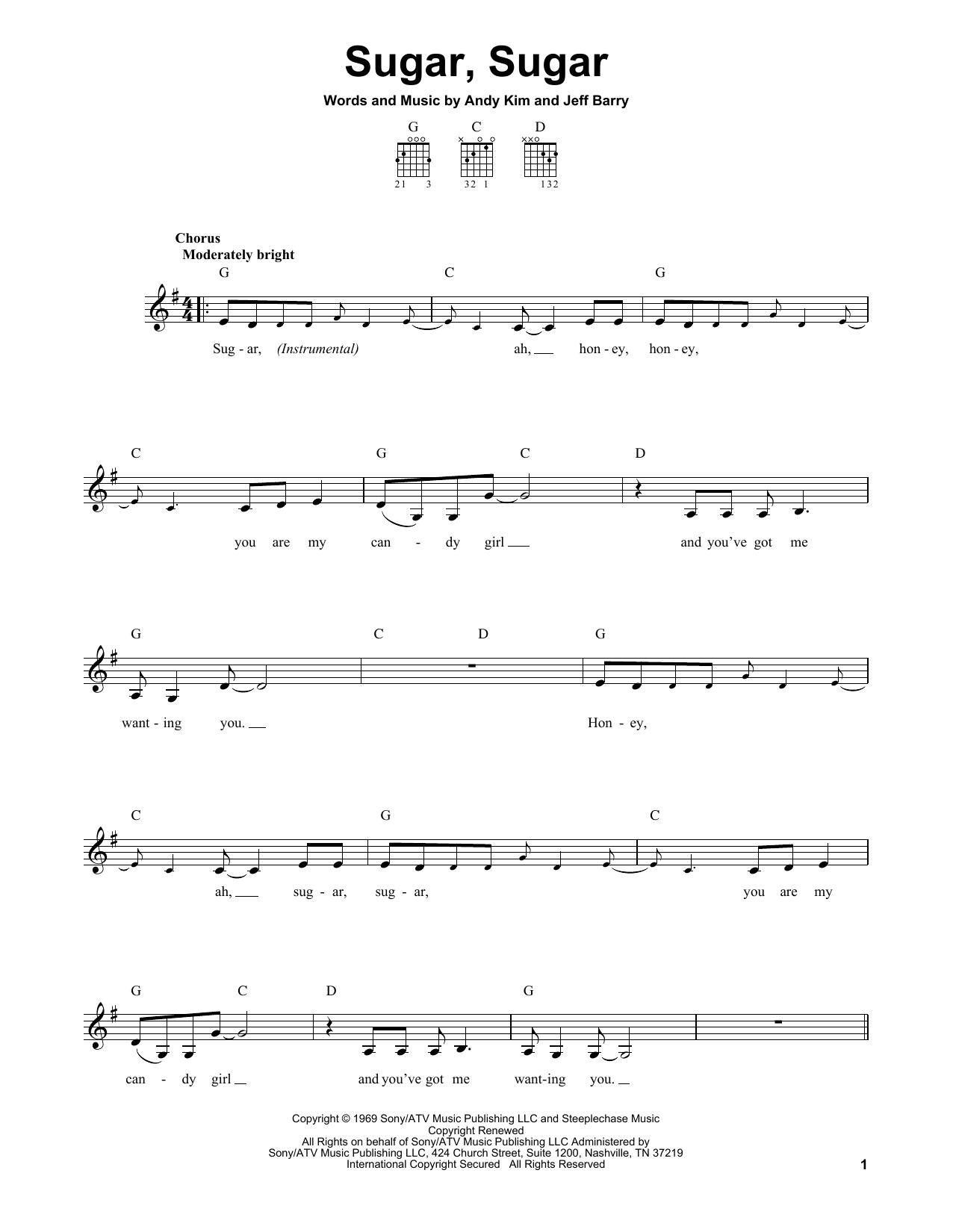Tablature guitare Sugar, Sugar de Wilson Pickett - Tablature guitare facile