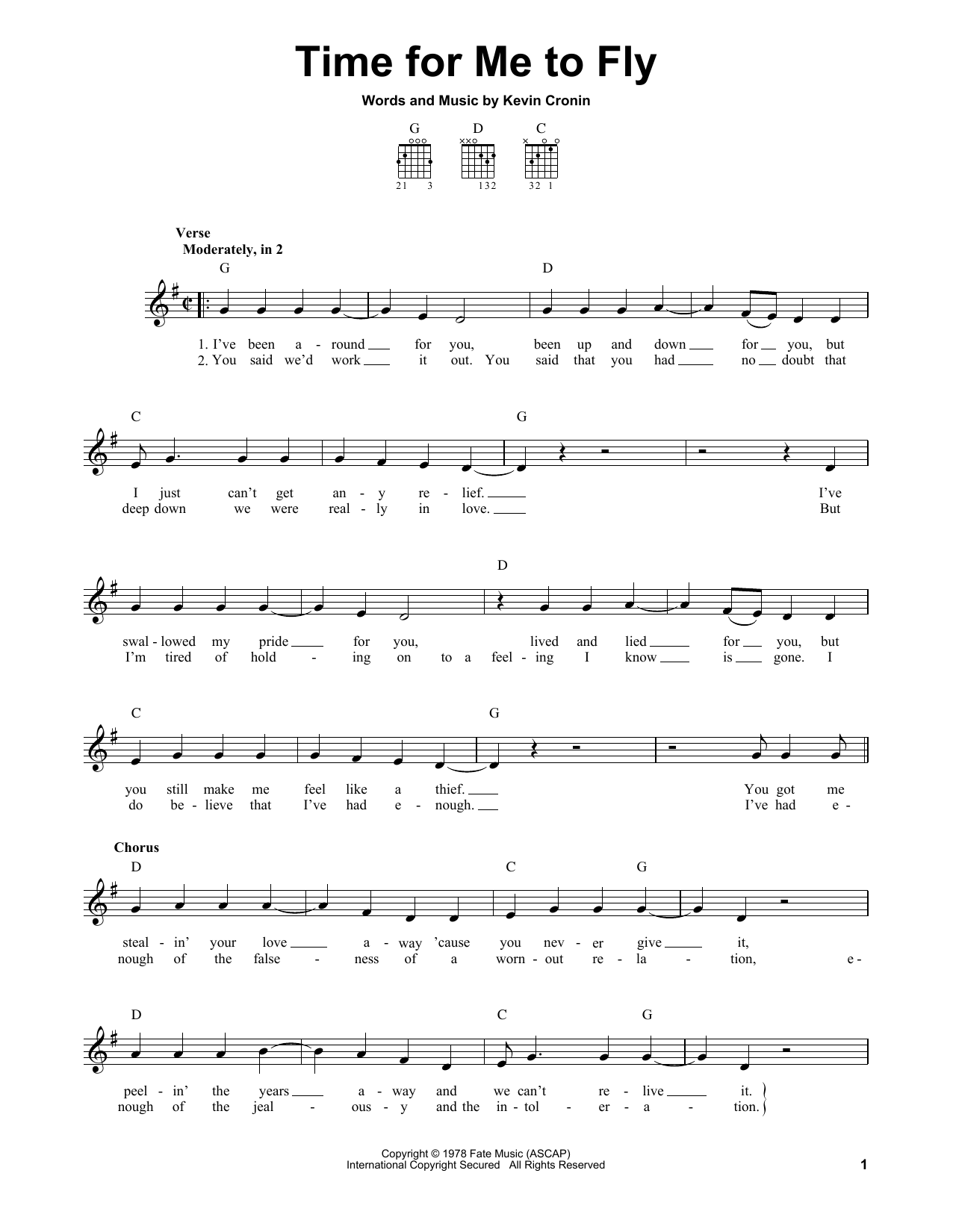 Tablature guitare Time For Me To Fly de REO Speedwagon - Tablature guitare facile