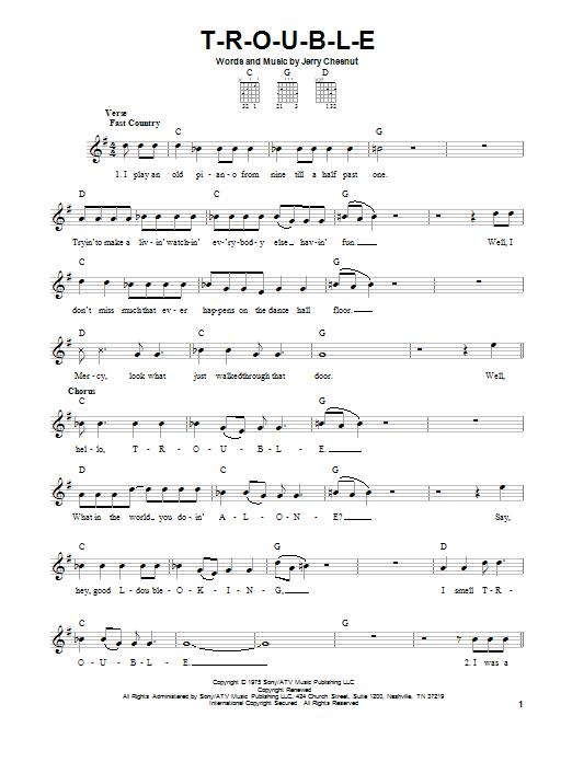 Tablature guitare T-R-O-U-B-L-E de Elvis Presley - Tablature guitare facile