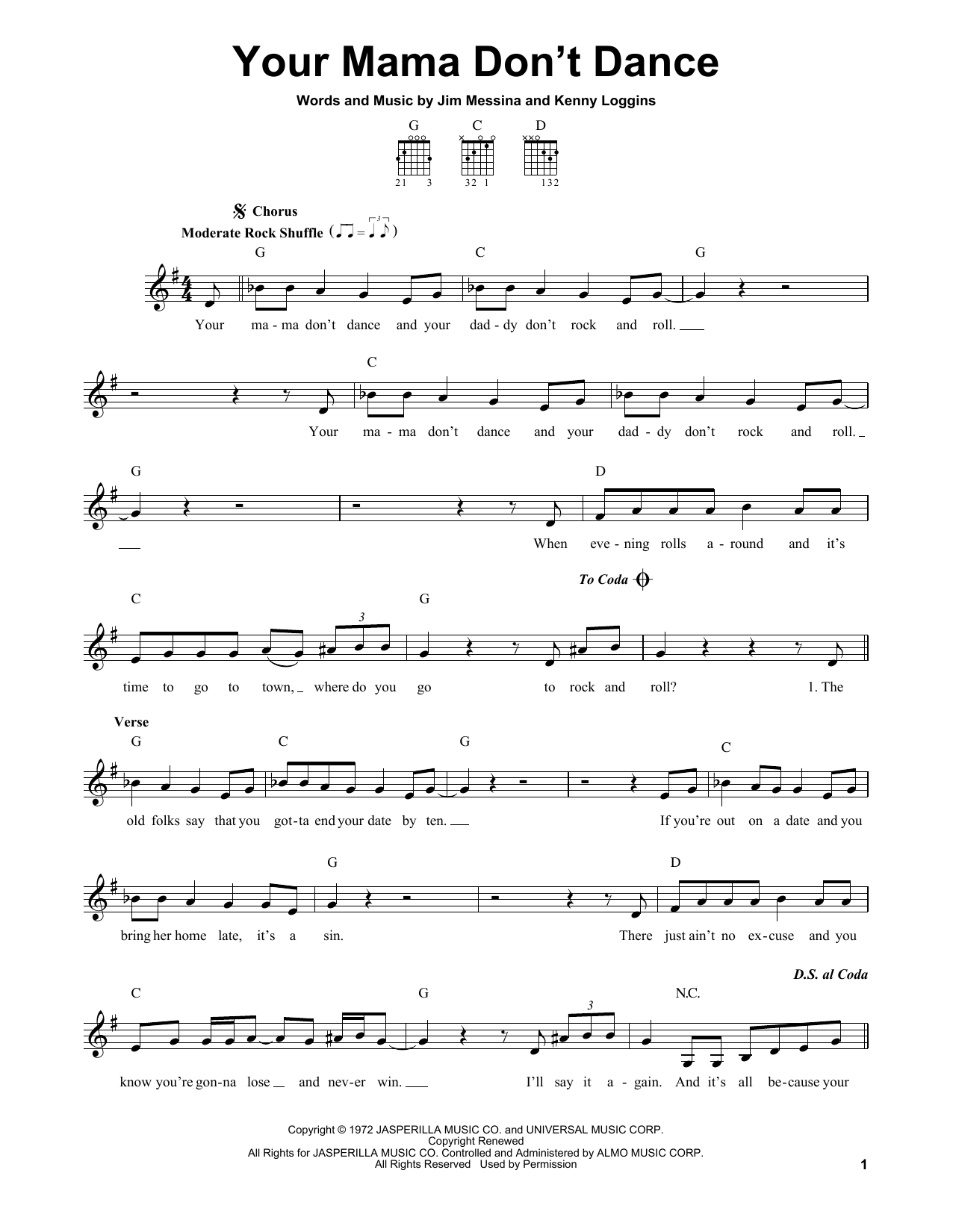 Tablature guitare Your Mama Don't Dance de Loggins and Messina - Tablature guitare facile