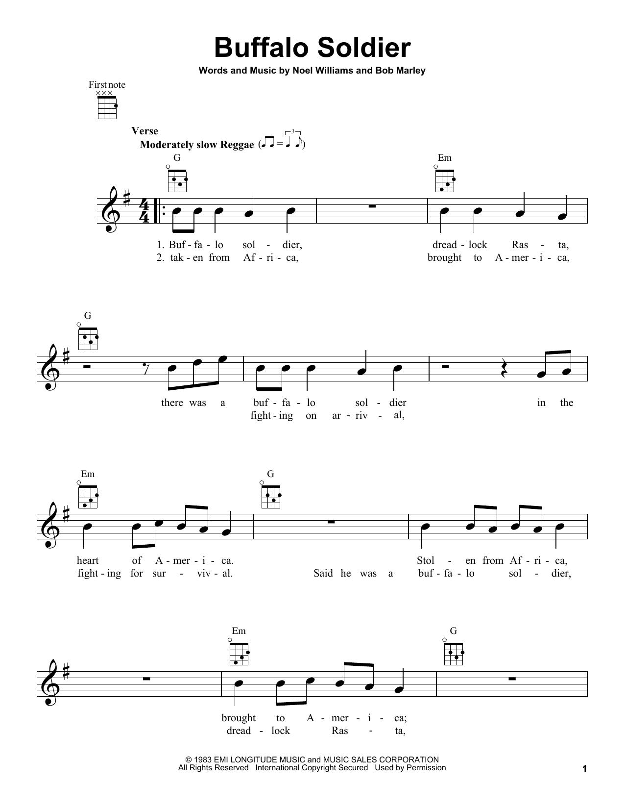 Tablature guitare Buffalo Soldier de Bob Marley - Ukulele