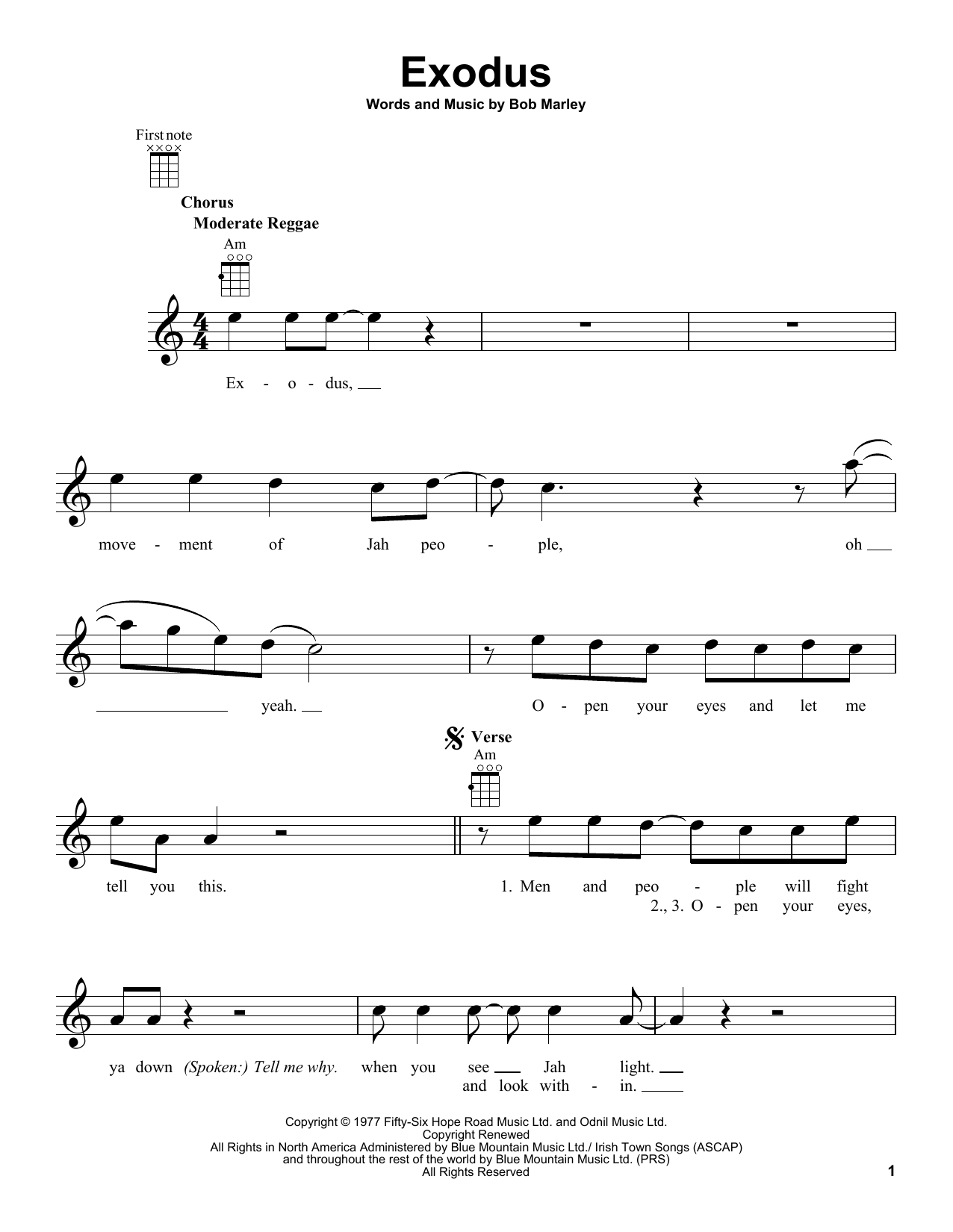 Tablature guitare Exodus de Bob Marley - Ukulele