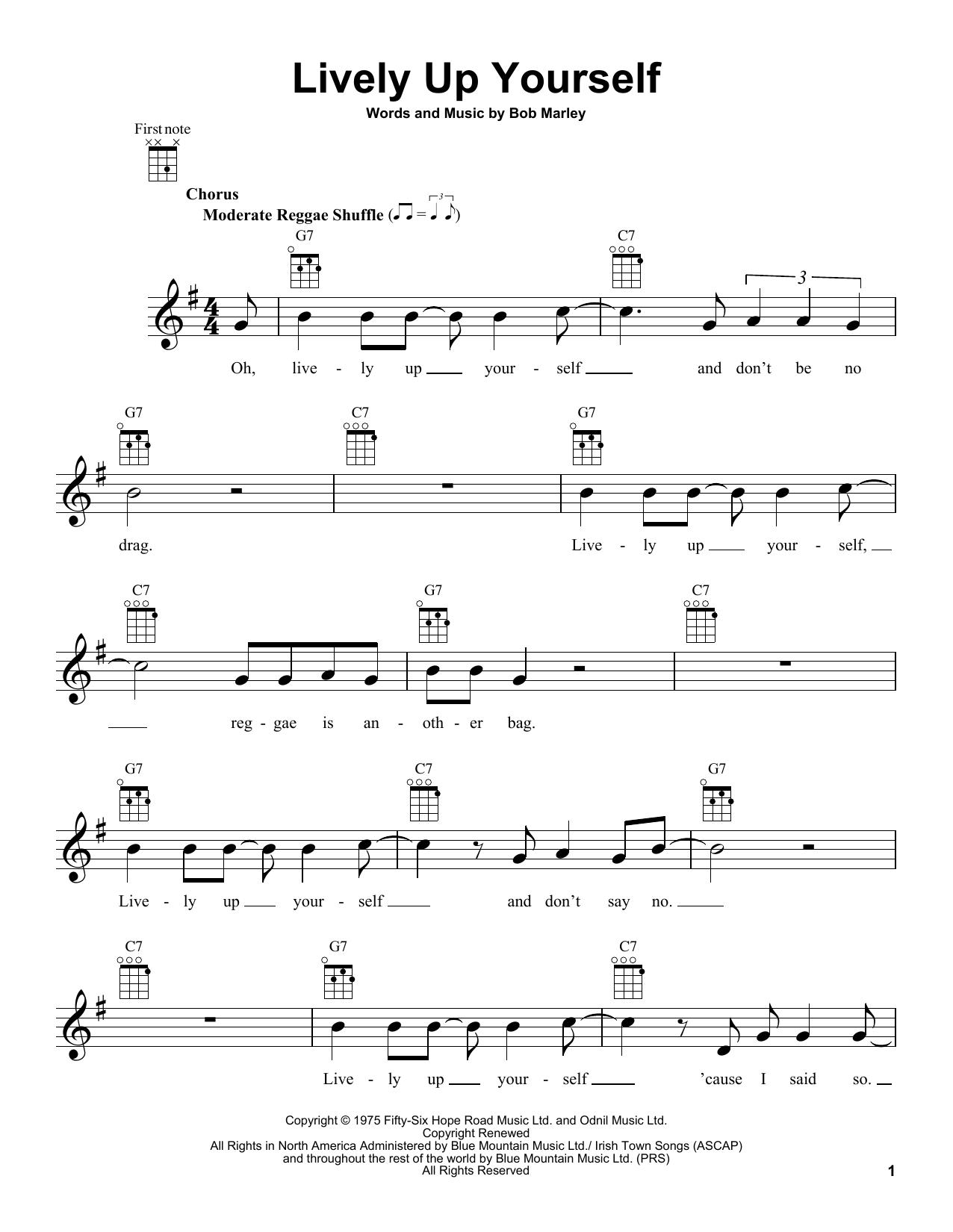 Tablature guitare Lively Up Yourself de Bob Marley - Ukulele