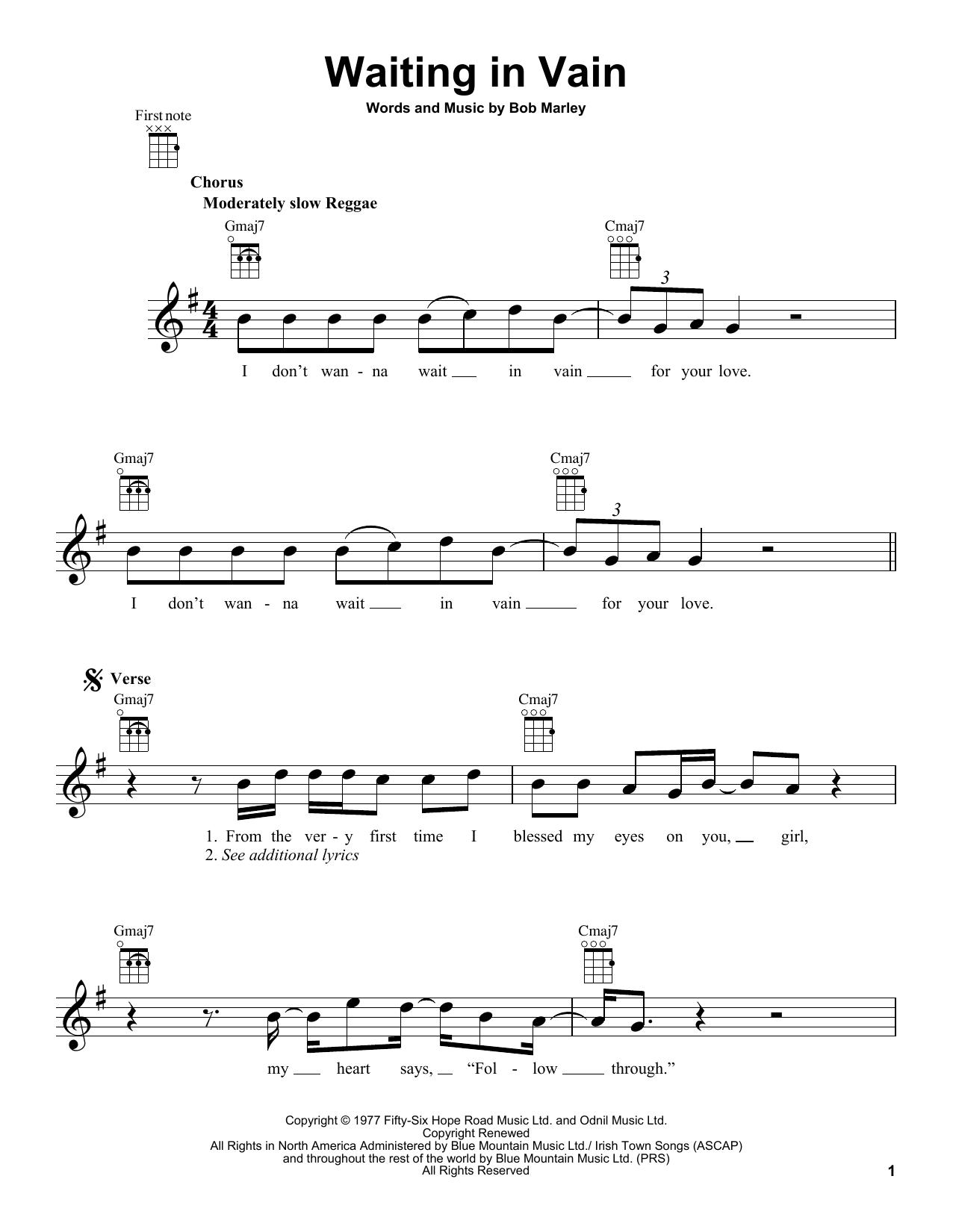 Tablature guitare Waiting In Vain de Bob Marley - Ukulele