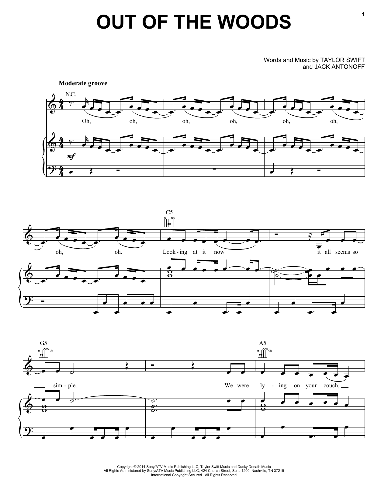 Partition piano Out Of The Woods de Taylor Swift - Piano Voix Guitare (Mélodie Main Droite)