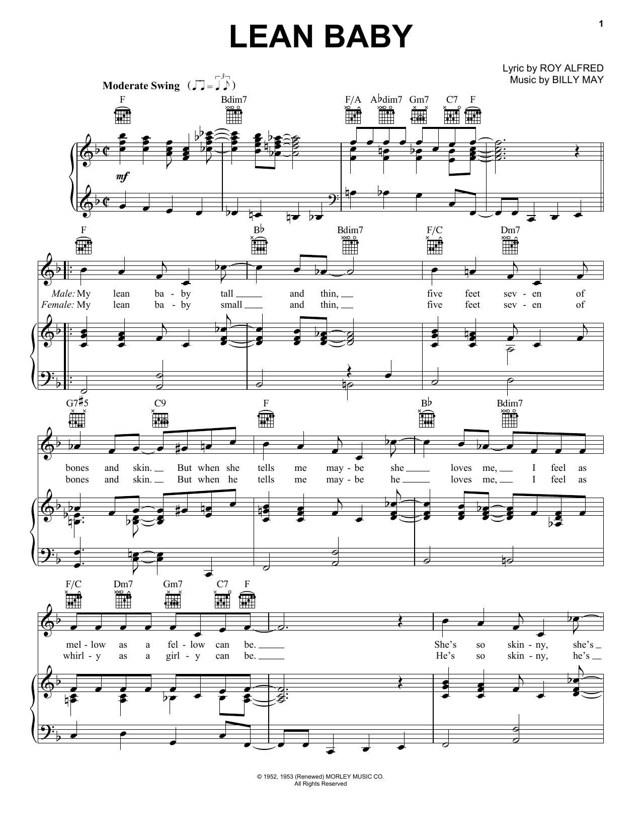 Partition piano Lean Baby de Frank Sinatra - Piano Voix Guitare (Mélodie Main Droite)