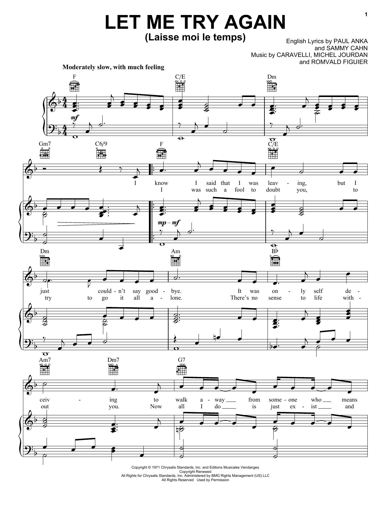 Partition piano Let Me Try Again (Laisse Moi Le Temps) de Frank Sinatra - Piano Voix Guitare (Mélodie Main Droite)