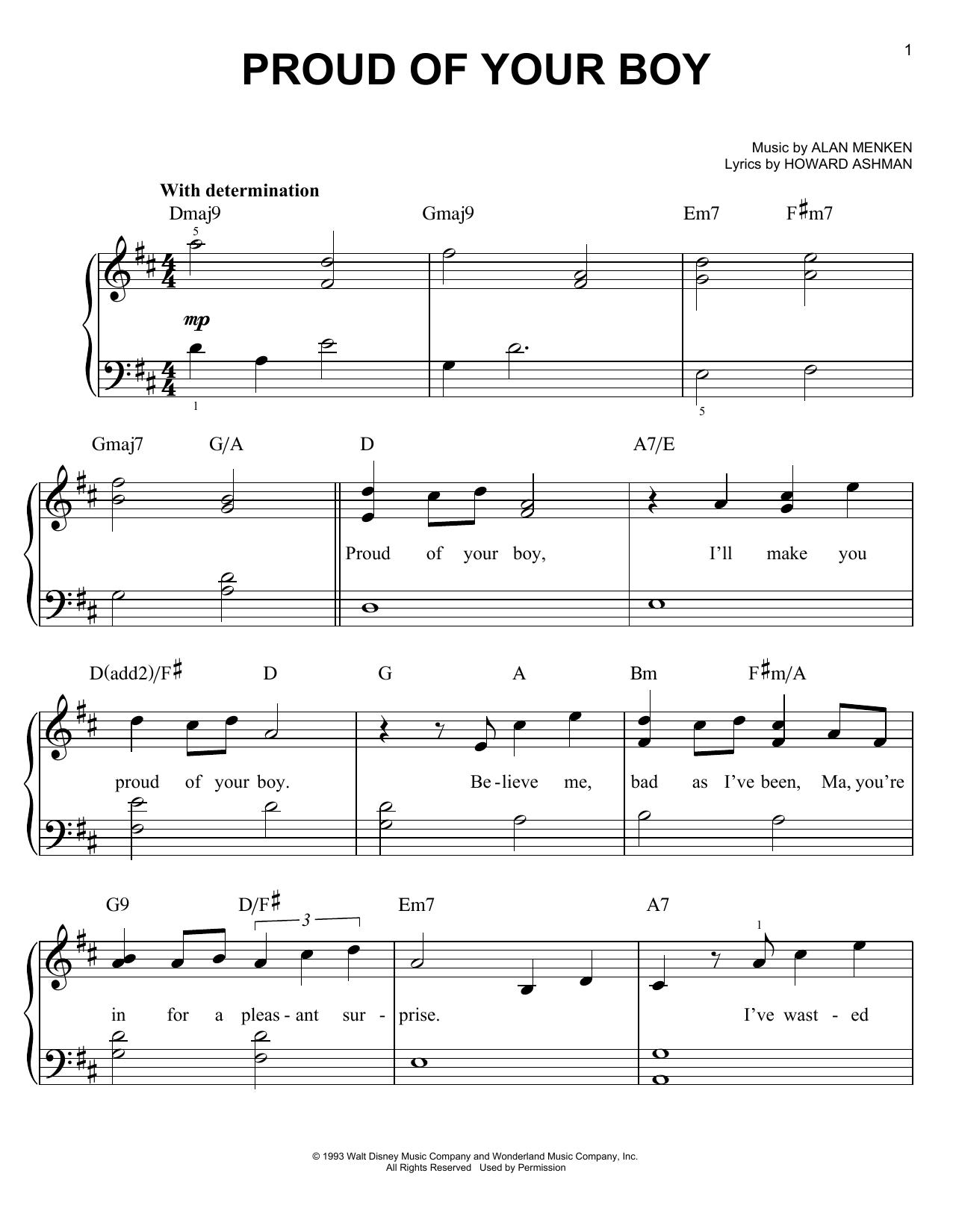 Partition piano Proud Of Your Boy (from Aladdin) de Alan Menken - Piano Facile