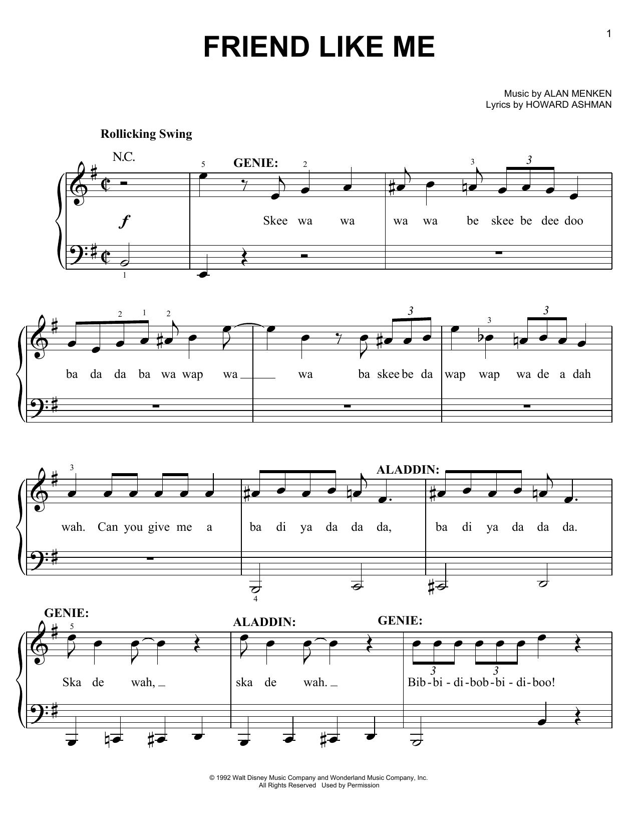 Partition piano Friend Like Me de Alan Menken - Piano Facile