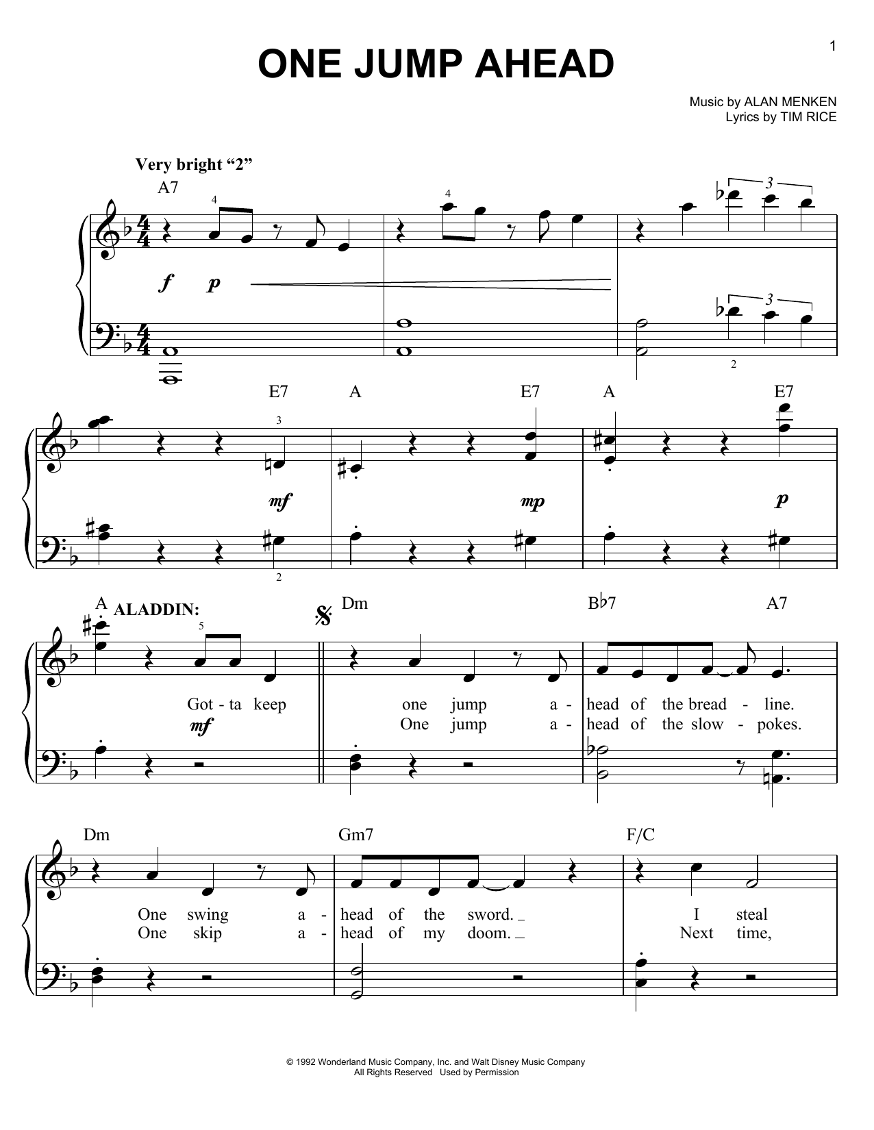 lyrics to aladdins one jump ahead chords piano