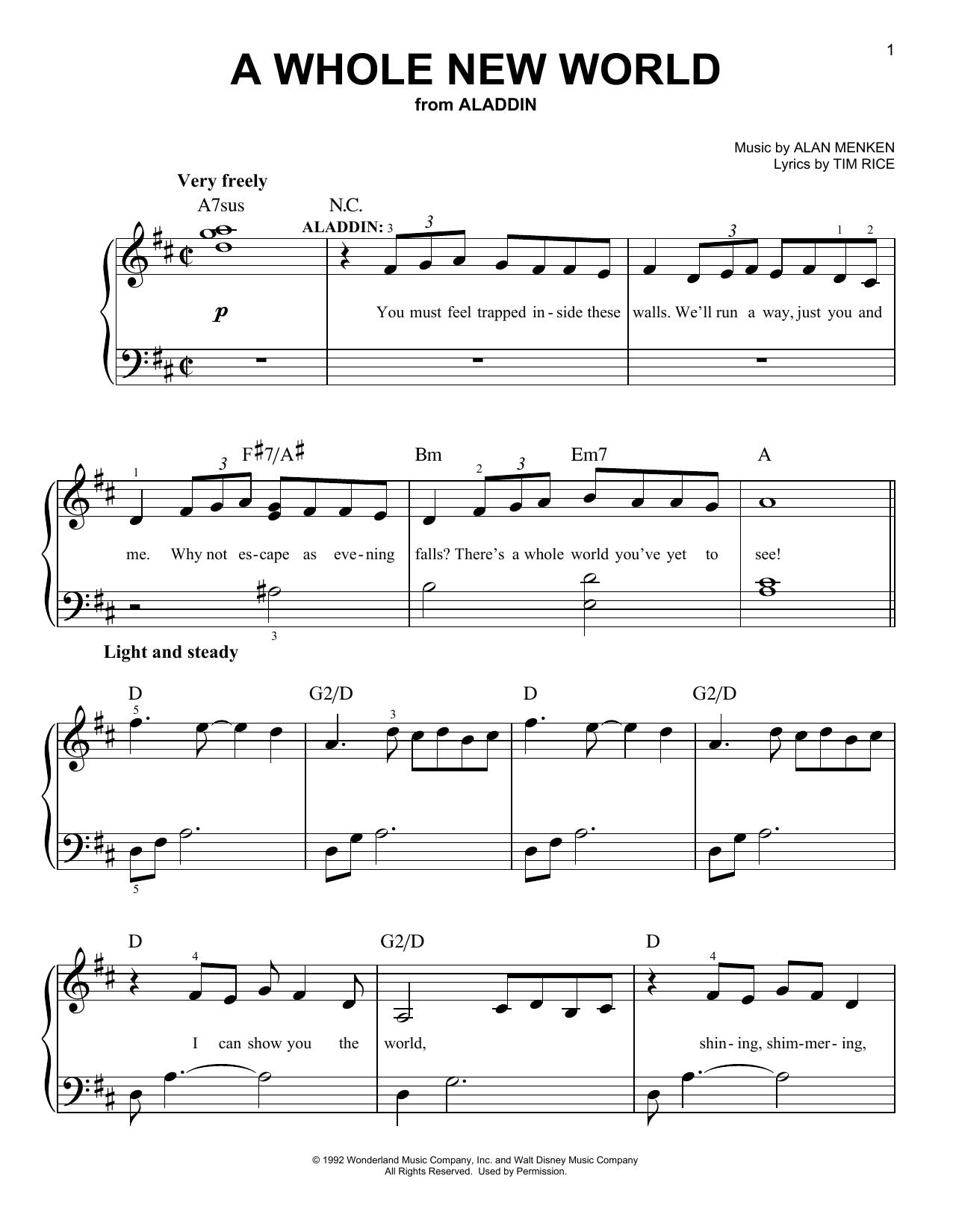 Partition piano A Whole New World de Alan Menken - Piano Facile