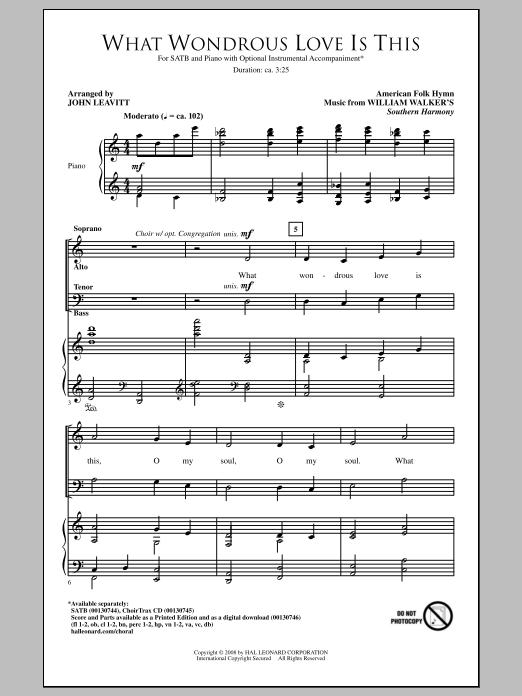 Partition chorale What Wondrous Love Is This (arr. John Leavitt) de William Walker - SATB