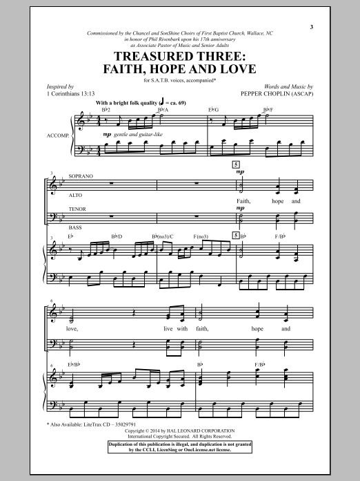 Partition chorale Treasured Three de Pepper Choplin - SATB