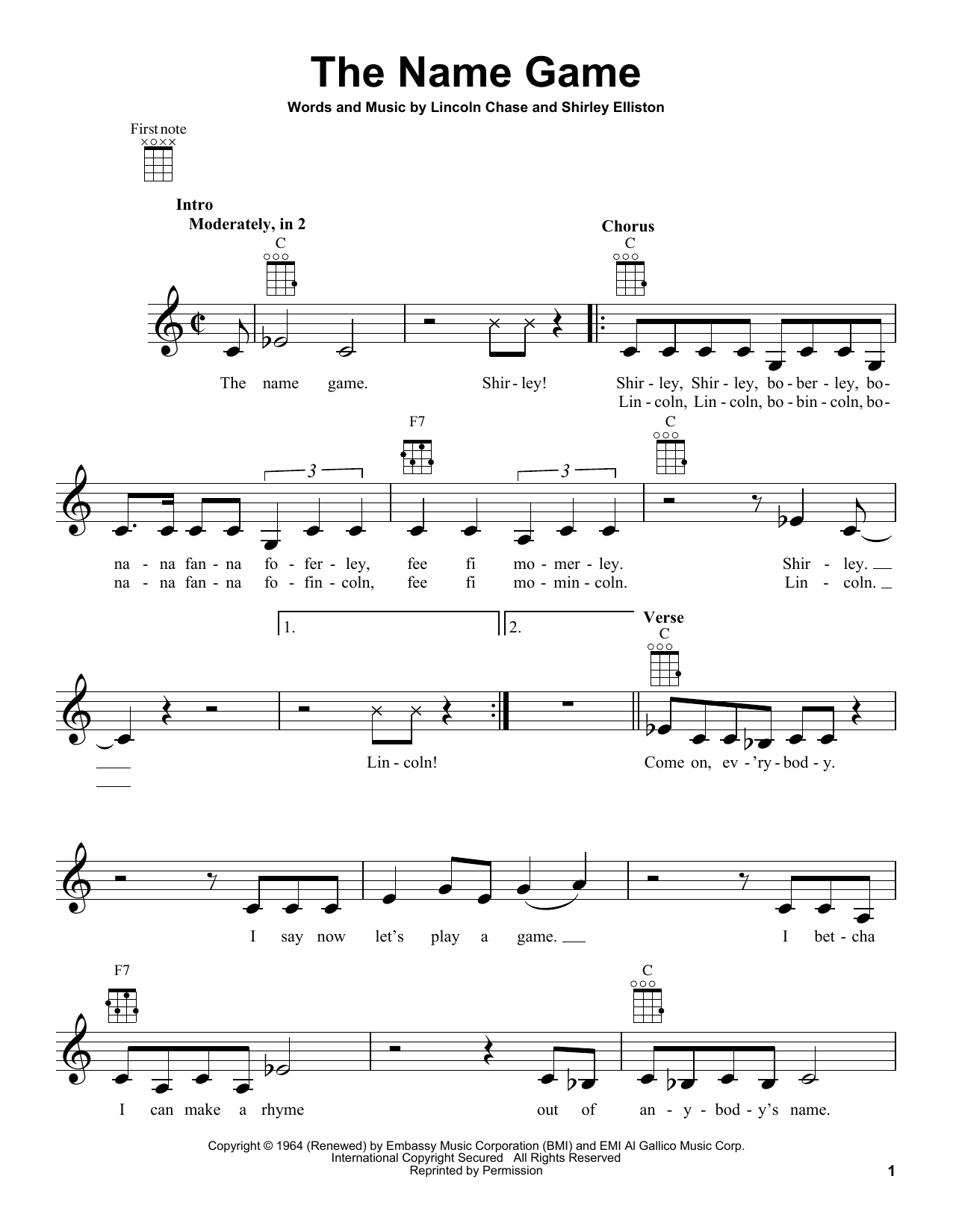Tablature guitare The Name Game de Shirley Ellis - Ukulele