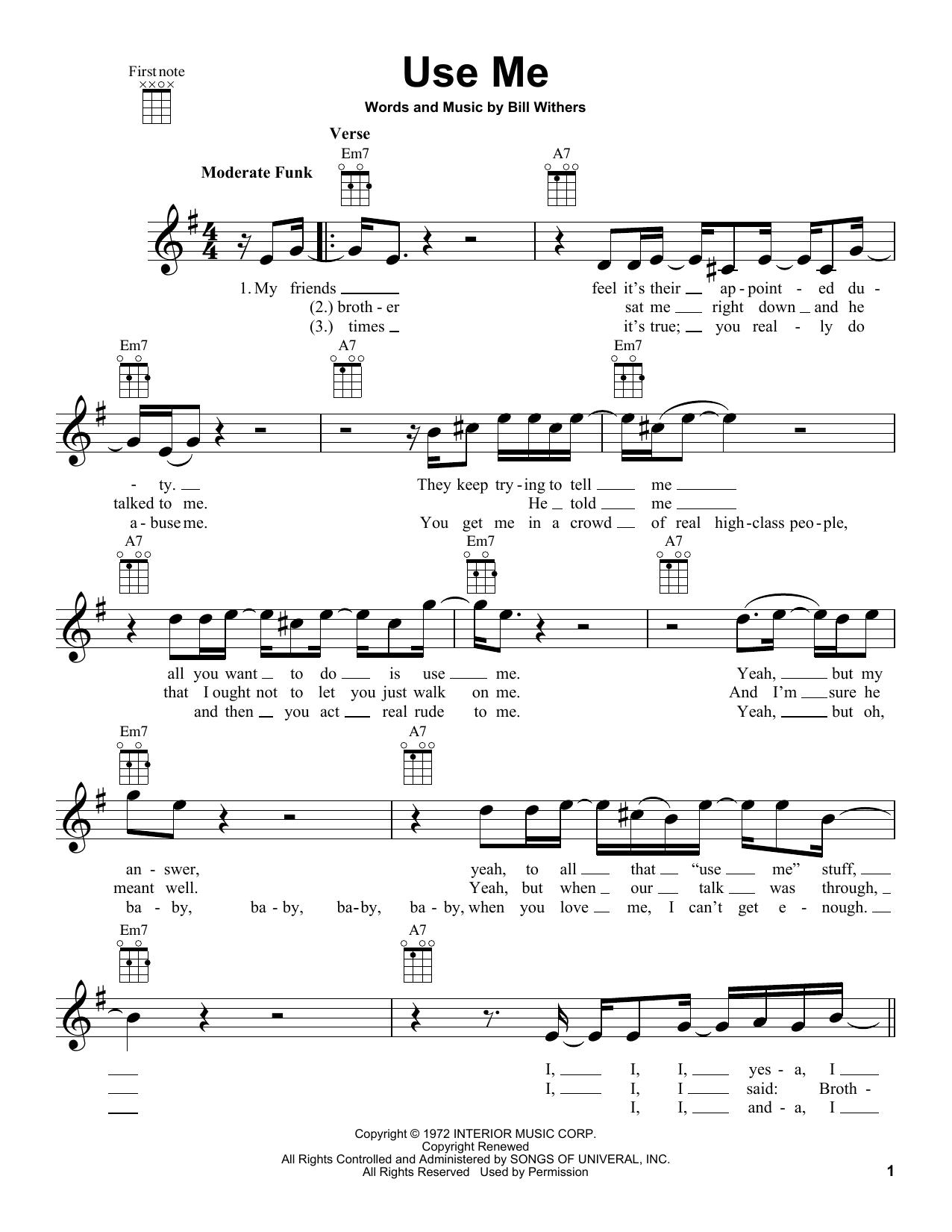 Tablature guitare Use Me de Bill Withers - Ukulele