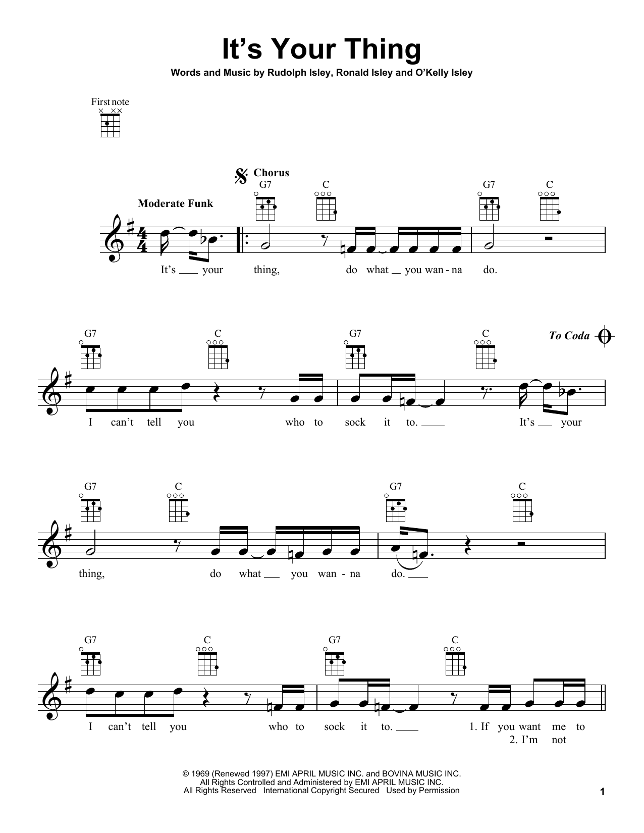 Tablature guitare It's Your Thing de The Isley Brothers - Ukulele