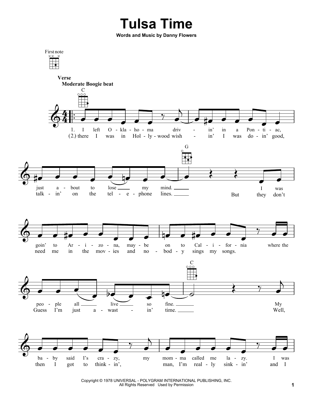 Tablature guitare Tulsa Time de Don Williams - Ukulele
