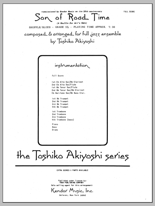 Son Of Road Time (COMPLETE) sheet music for jazz band by Toshiko Akiyoshi