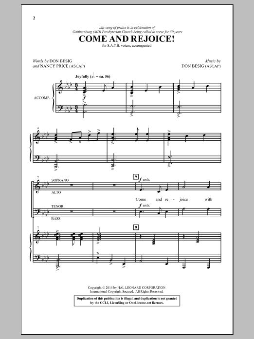 Partition chorale Come And Rejoice! de Don Besig - SATB
