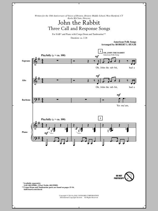 Partition chorale Oh, John The Rabbit de Robert I. Hugh - SAB
