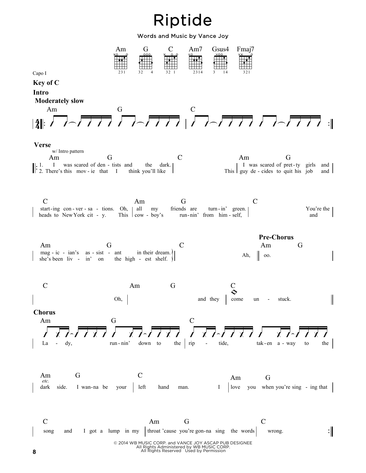 Riptide sheet music by Vance Joy (Guitar Lead Sheet u2013 162699)