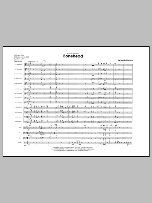 Bonehead (COMPLETE) sheet music for jazz band by Lennie Niehaus