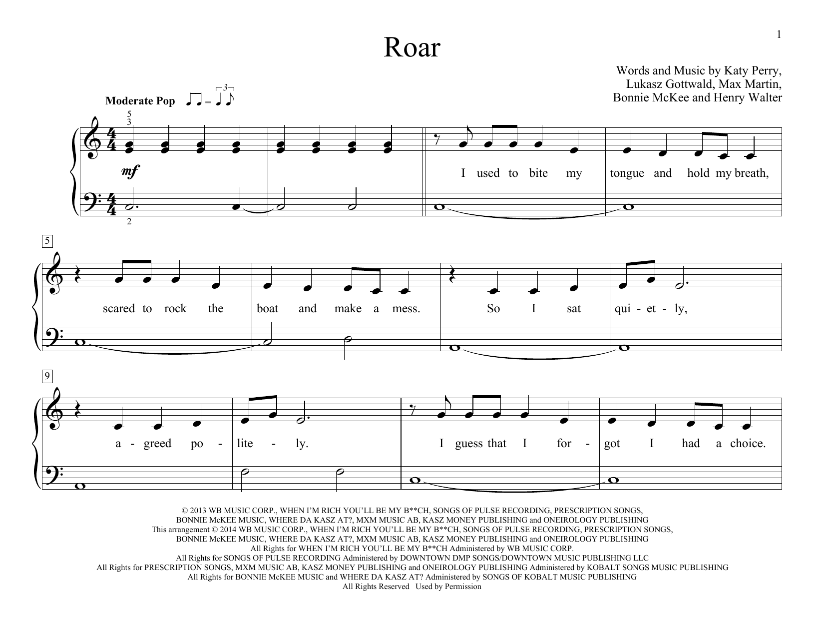 Partition piano Roar de Katy Perry - Piano Facile