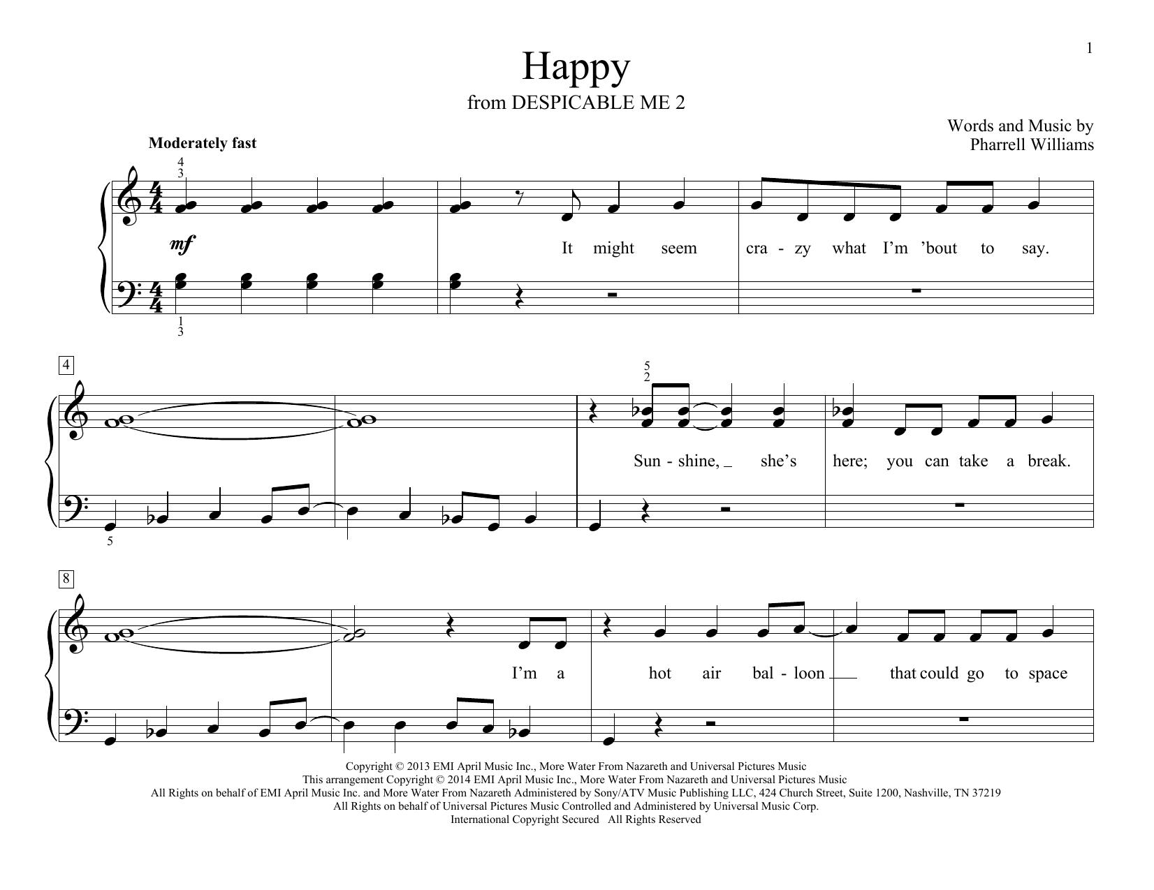Partition piano Happy de Pharrell Williams - Piano Facile