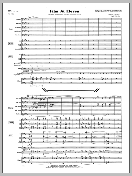 Film At Eleven (COMPLETE) sheet music for jazz band by Bill Holman