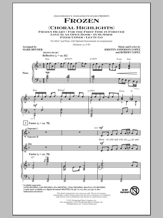 Partition chorale Frozen (Choral Highlights) de Kristen Anderson-Lopez - SSA