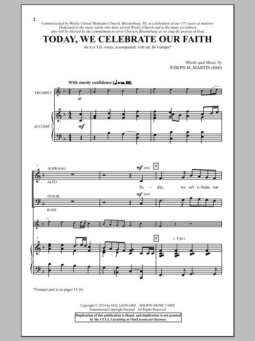 Partition chorale Today, We Celebrate Our Faith de Joseph M. Martin - Chœur