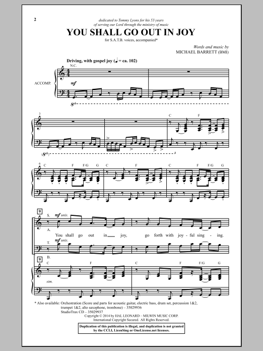 Partition chorale You Shall Go Out In Joy de Michael Barrett - SATB