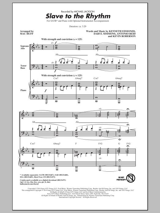 Partition chorale Slave To The Rhythm (arr. Mac Huff) de Michael Jackson - SATB