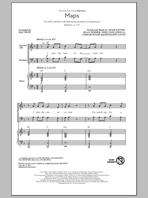 Partition chorale Maps (arr. Mac Huff) de Maroon 5 - SAB