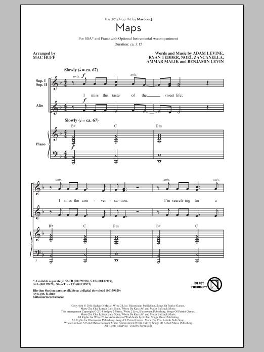 Partition chorale Maps (arr. Mac Huff) de Maroon 5 - SSA