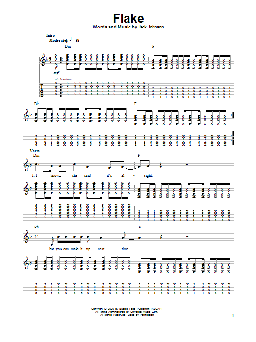 Tablature guitare Flake de Jack Johnson - Tablature Guitare